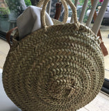 Basket - Round Cross Body, Adjustable Leather Strap and Handles