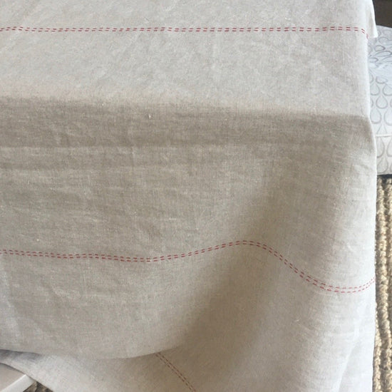 Linen Tablecloth - Large, Natural with Running Stitch Detail
