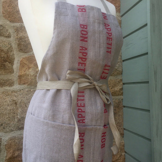 Linen Apron - Bon Appetit, White, Red or Green