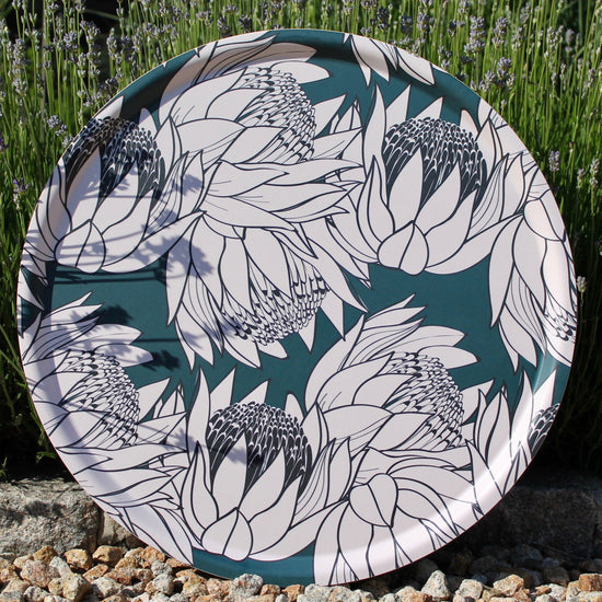 Sunflower Tray - Large, Turquoise and White
