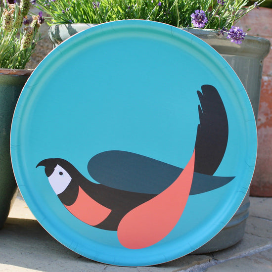 Parrot Tray - Turquoise, Black and Pink