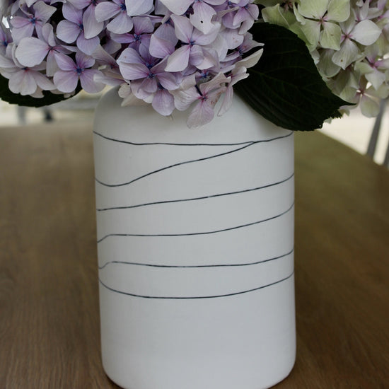 Handmade Limoges Vase - Soft White with Horizontal Lines, Large