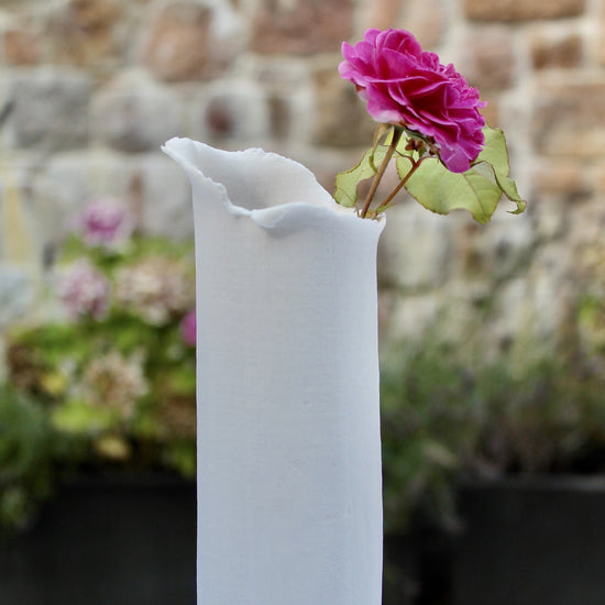Handmade Linen Look Porcelain Vase - Soft White, Tall