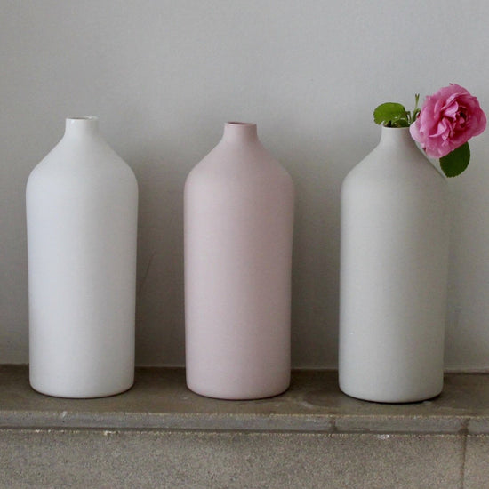 Handmade Porcelain Bud Vase -  Soft White, Sage Grey and Rose Pink