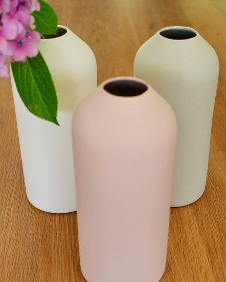 Handmade Porcelain 'No Neck' Vase - Soft White, Sage Grey and Rose Pink,