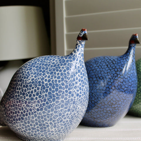 Ceramic Pintade Hens (Guinea Fowl) - Green and Blue, Large
