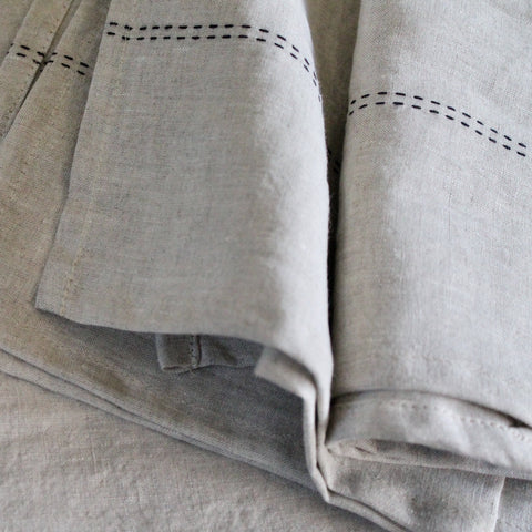 Linen Napkins - Natural with Running Stitch Detail