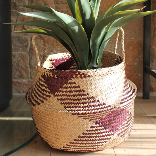 Water Hyacinth Basket - Aubergine and Natural