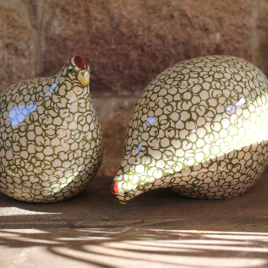 Ceramic Quail - Green and White, Pecking or Standing