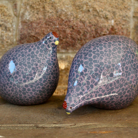 Ceramic Quail - Lavender and Blue, Pecking or Standing