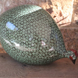 Ceramic Guinea Fowl - Forest Green and Black, Pecking