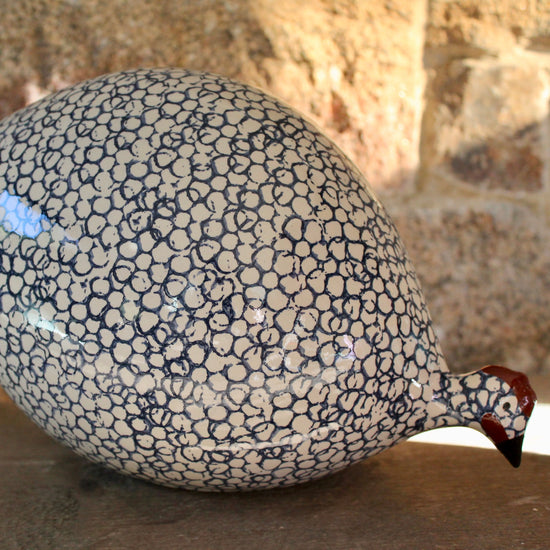 Ceramic Guinea Fowl - White and Blue, Pecking
