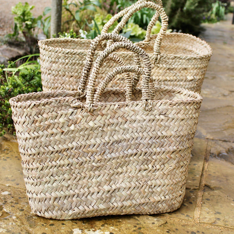 Hand Braided market basket - Natural, three sizes