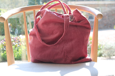 Velvet Tote - Raspberry, Teal, Dove Grey