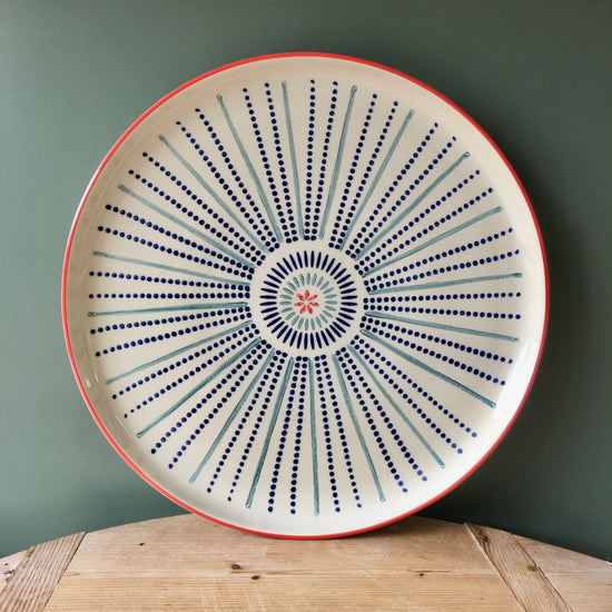Hand Painted Cake Plate - Catherine Wheel