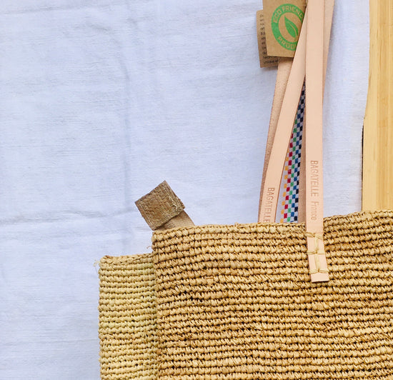 Handwoven Tote - Natural, Leather Handles, Natural and Tan