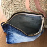 Pouch - Washed Denim, Leather Strap
