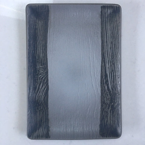Ceramic Rectangular Platter - Black and Silver Grey