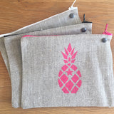 Linen Pochette - Pineapple, Pink, White or Grey