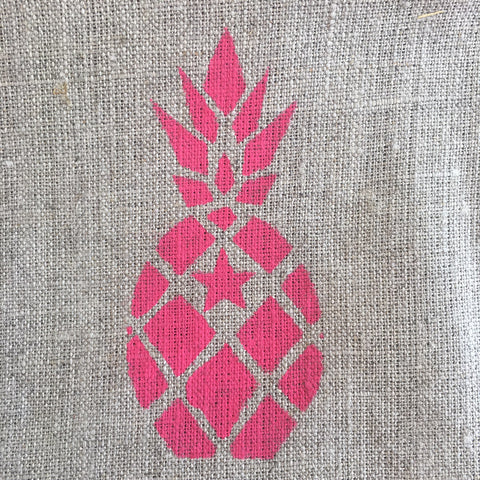Linen Pineapple Pouch, Pink, White or Grey