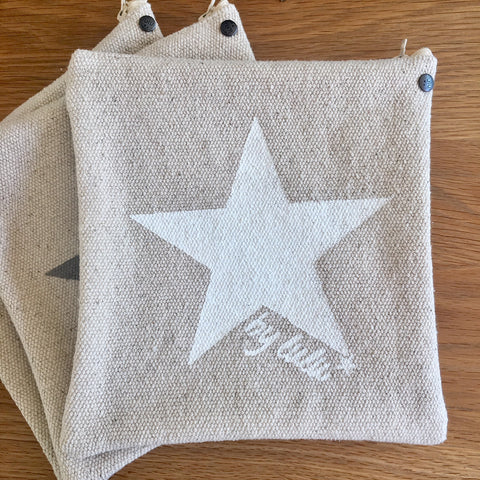Thick Cotton Star Pouch - Black, White or Grey