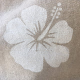 Thick Cotton Knitting Bag - White Flower, Shoulder Length Handles