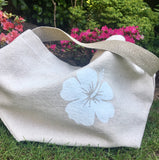 Thick Cotton Tote Bag - White Flower, Shoulder Length Handles