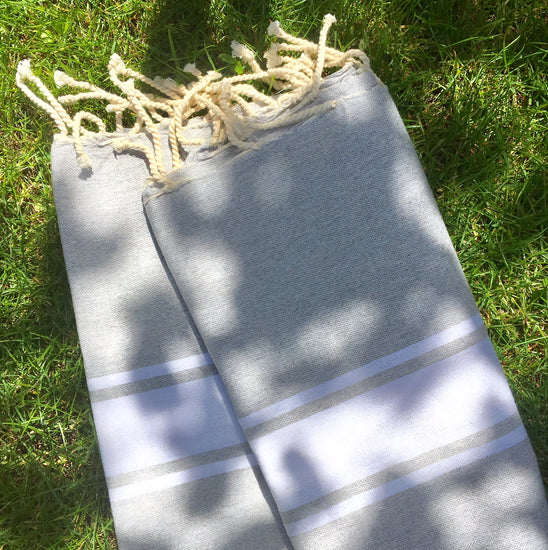 Fouta - Soft Grey and White