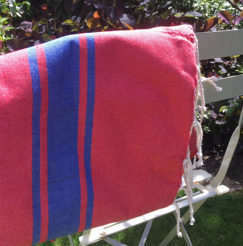 Hamman Cotton Towel - Cherry and Blue