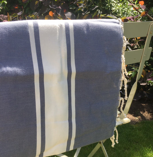 Hamman Cotton Towel - Denim and White