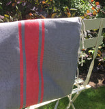 Hamman Cotton Towel - Soft Grey and Red