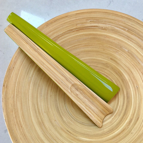 Bamboo Salad Servers - Kiwi Green Lacquer