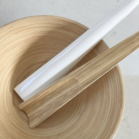 Bamboo Salad Servers - White Lacquer