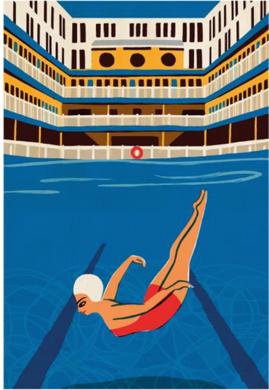 Original Retro Print - Picine Molitor, Paul Thurlby