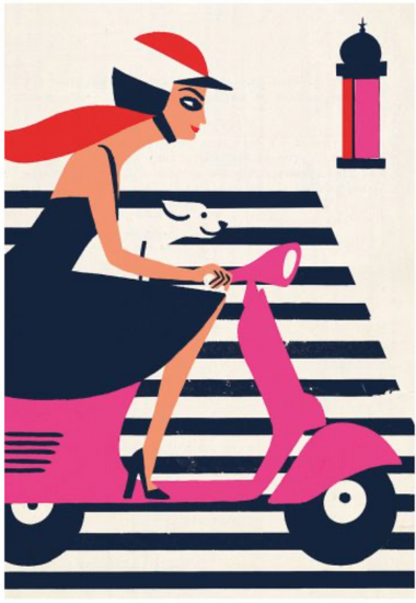 Original Retro Print - Vespa Stripes, Paul Thurlby