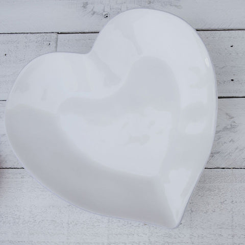 Ceramic Heart Plate - White