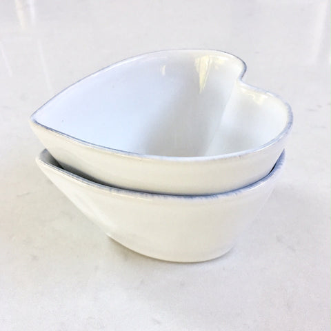 Ceramic Small Heart Bowl - White