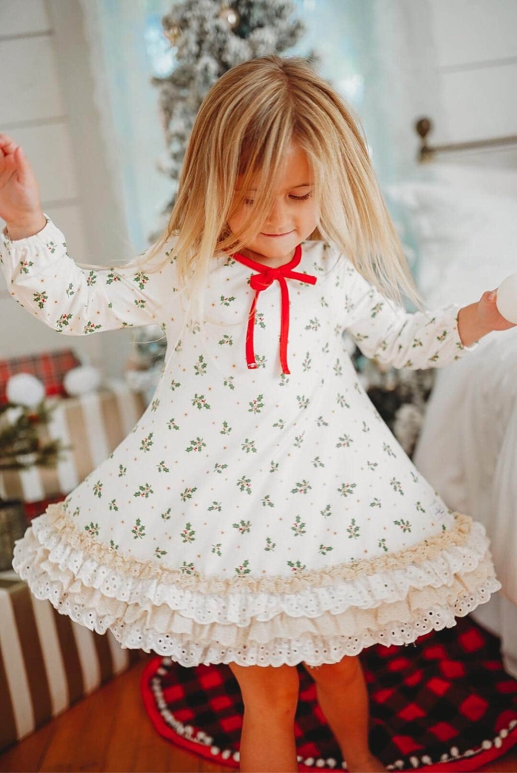 Holly Berry Girls Gown and Bloomer Set