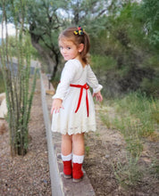 Vintage Candy Cane Dress- Winter White