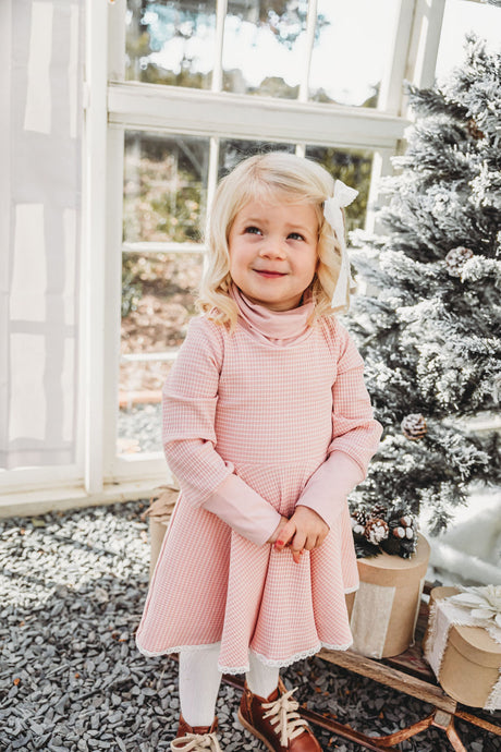 Pink Clara Turtleneck Knit Dress