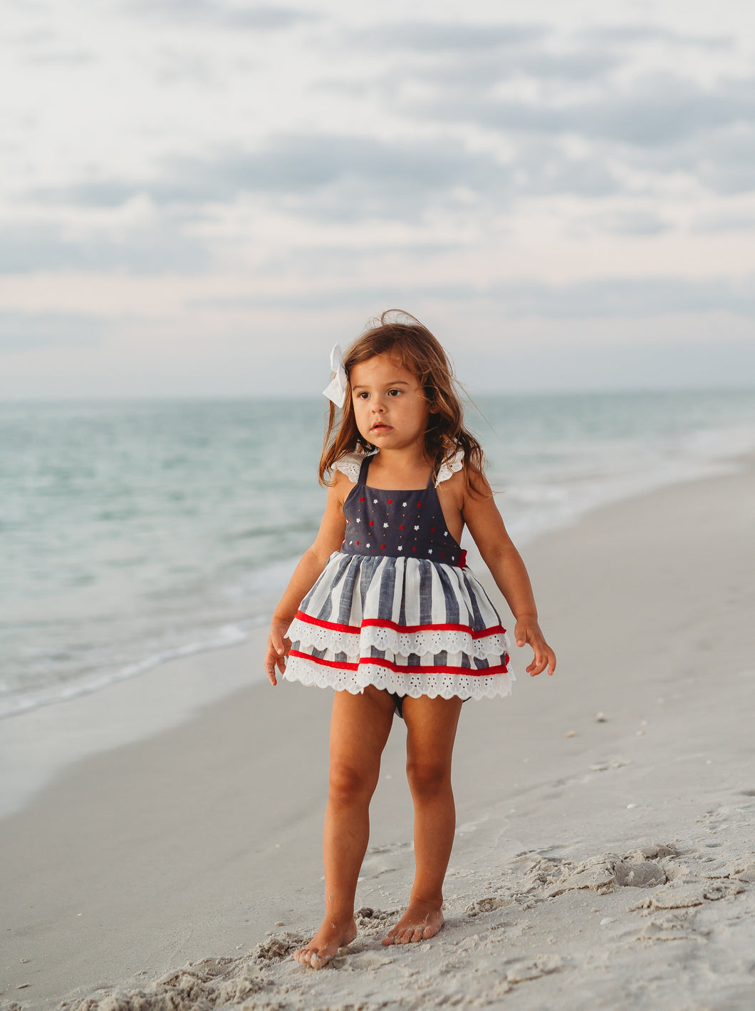 Kate Skirted Romper- Stars and Stripes Romper