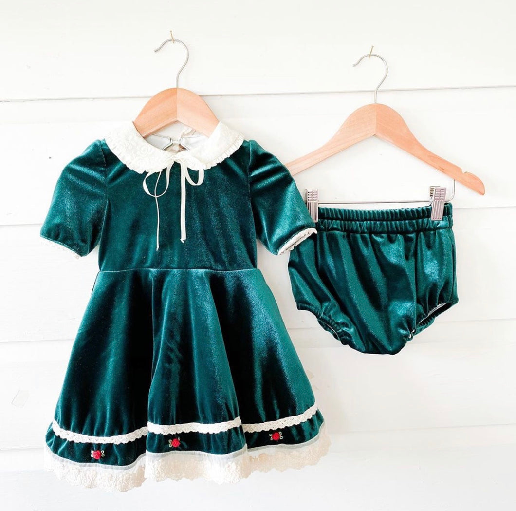 PREORDER Emerald Velvet Dress and Bloomer Set