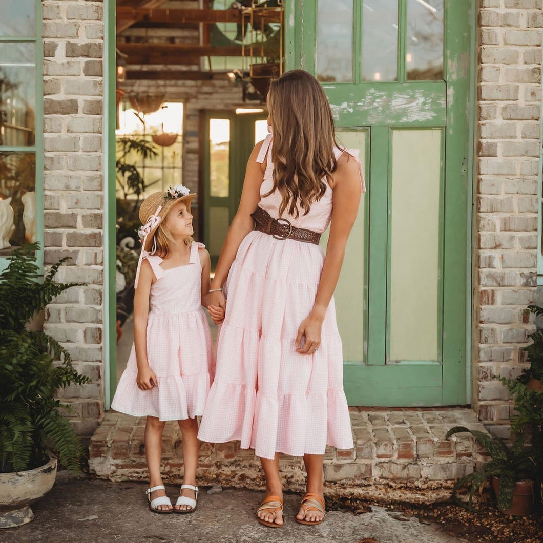 Women's Mommy & Me Pink Gingham Sundress
