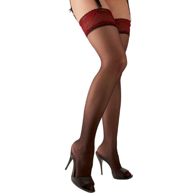 Cottelli Red Lace Suspender Stockings