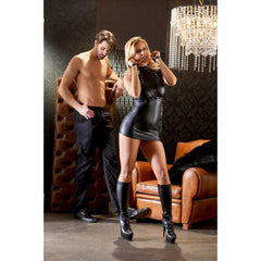 Cottelli Bondage - Wet Look Domina Dress with Cuffs & Chains