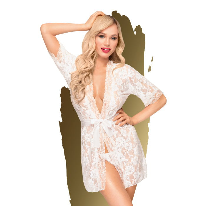 Penthouse - Sweet Retreat Lace Kimono - White