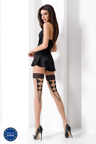Passion - Light Brown Thigh Patterned Designer Stockings
