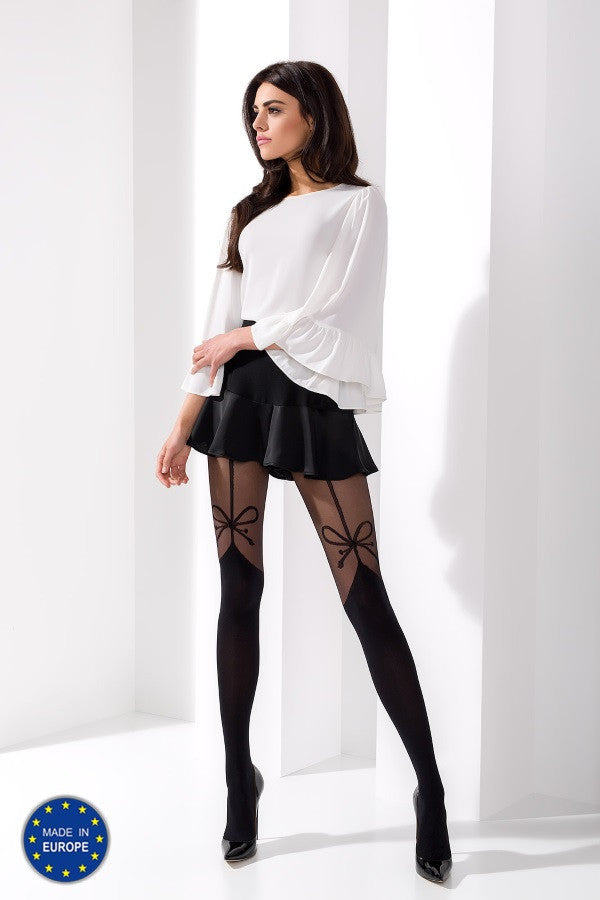 Passion - Bow Suspender Patterned Designer Tights