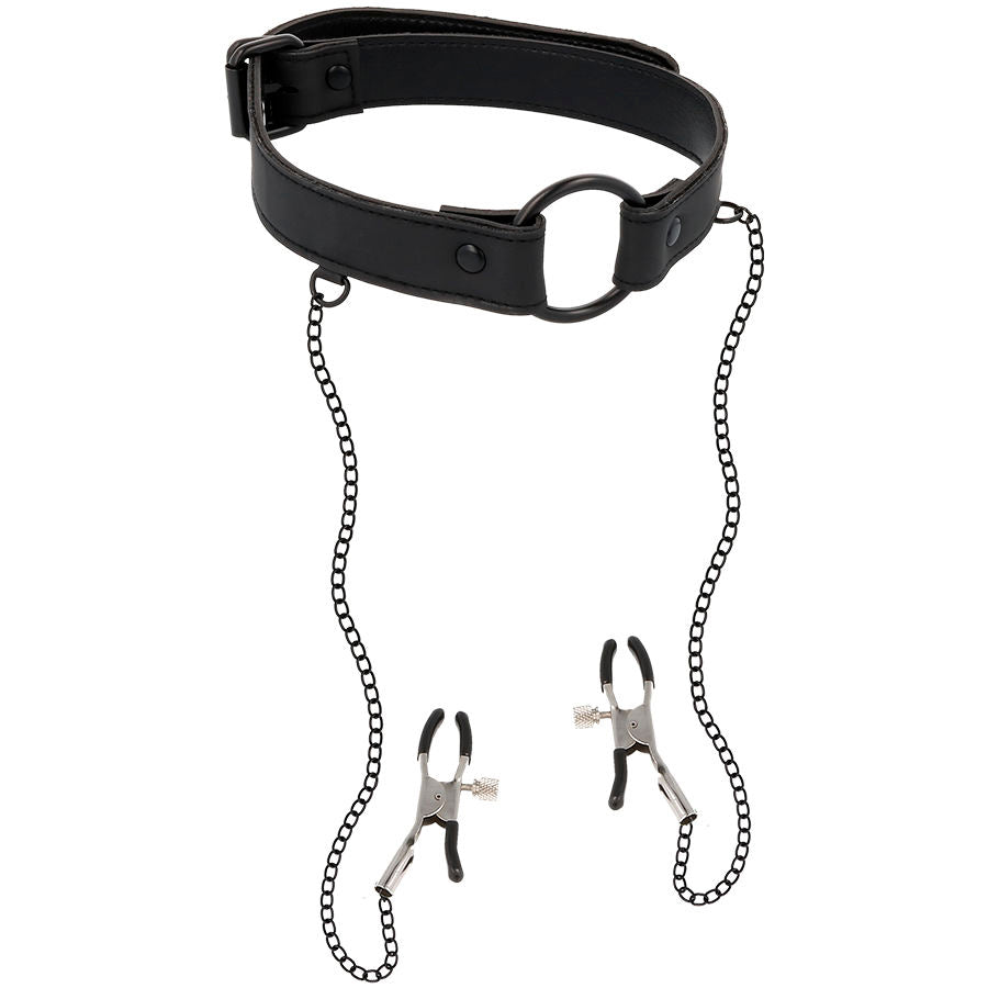 Fetish Submissive Collar With Nipple Clamps
