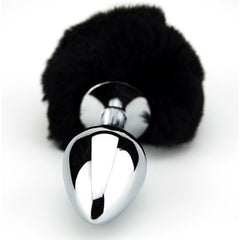 Furry Fantasy Black Bunny Tail Medium Butt Plug